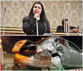 نجاة عضو مجلس النواب سمر  سالم من حادث مروع بالقاهرة