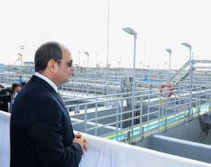 الرئيس السيسي يفتتح محطة معالجة مياه مصرف بحر البقر